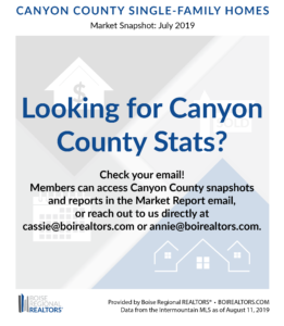 Email cassie@boirealtors.com for Canyon County Market Stats